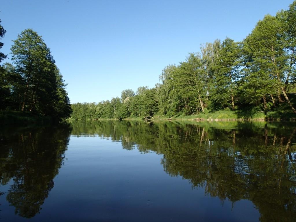 Przez kilka kilometrów płynąłem spokojną rzeką, rozkoszując się mijanymi krajobrazami.