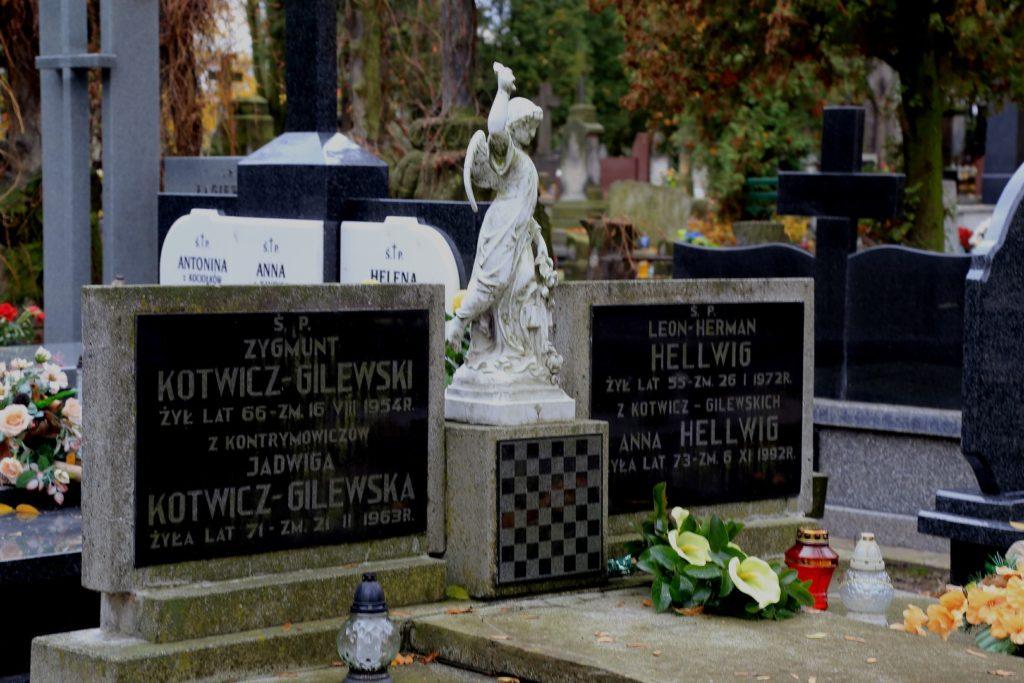 Nagrobek Anny Hellwig - jednej z najbardziej utalentowanych polskich szachistek. Stąd szachy w centralnej części nagrobka.